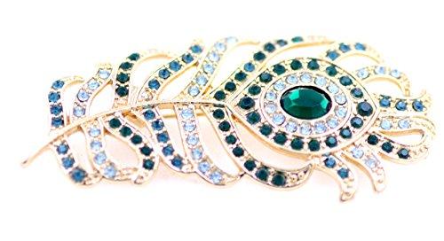 Lizzyoftheflowers-Grande Occhio di pavone Piuma Spilla cristallo stile retrò vintage, Regalo Ideale