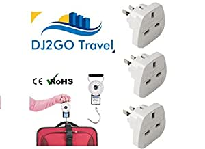 3 Pack of UK to USA / Australian Travel Adaptors with Luggage Scales & Tape Measure