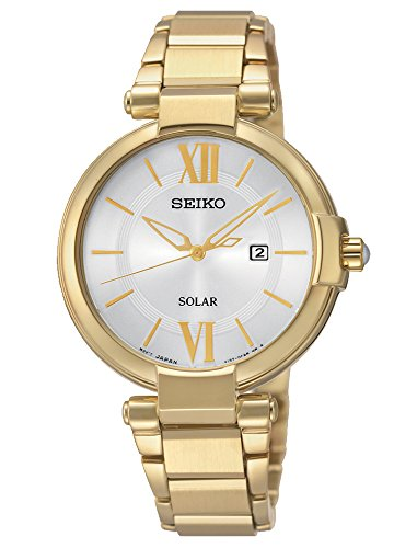 Seiko SUT158P1 Solar  - Wristwatch Women's, Stainless steel plated, Band Colour: gold