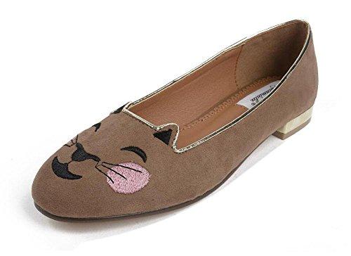 GLTER Femmes Chaussures plates Sandales Sen Femmes Printemps Cartoon Tête de chat Suède brodé Rough Chaussures de bouche superficielle Chaussures à talons rondes Chaussures Mules Chaussons à glissière Khaki