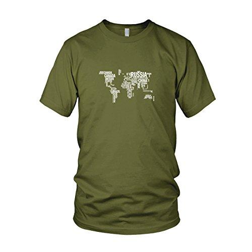 Letter World Map - Herren T-Shirt Army