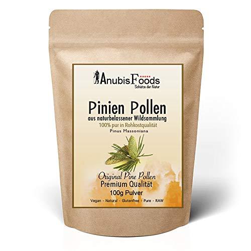 Anubisfoods Pinien Pollen Pulver - Natürliche Wildsammlung - 100{c0f8ff3d1ad0488a8dc97faa24c1bfa645337d53c8748fc93deae14bba9be7ea} Rohkostqualität - Vegan - Laborgeprüft - RAW Premium - Pine Pollen (1x 100g)