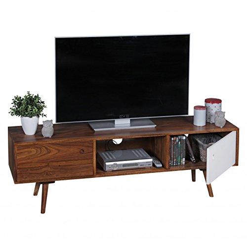 FineBuy TV Lowboard 140 cm Massiv-Holz Sheesham Landhaus 2 Türen & Fach   HiFi Regal braun / weiß 4 Füße   Fernseher Kommode Vintage