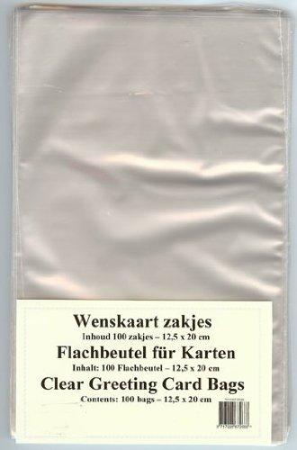 100 Flachbeutel Kartenhüllen für A6 Karten Postkarten Verpackung Tüten ca. 12,5 x 20 cm