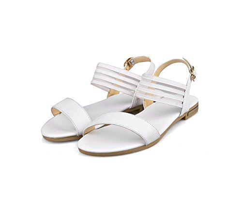 Fivela Allhqfashion Senhoras Toe Aberto Sem Calcanhar Lustre Puros Sandálias Brancas