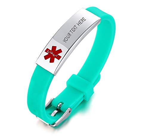 XUANPAI Edelstahl grünes Silikon Armband Medical Alert Identification Kostenlose Gravur Verstellbares Armband Kostenlose Gravur für Männer Frauen (Medical Alert Armband Frauen)