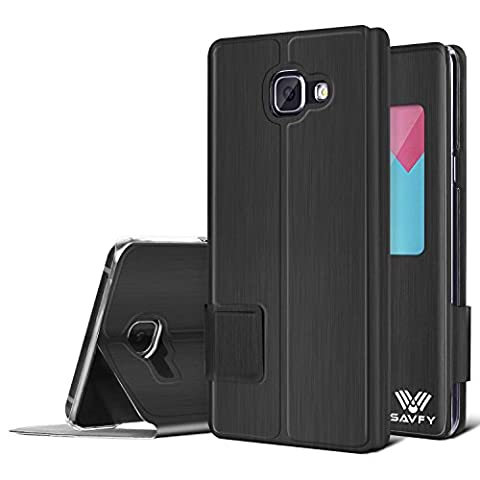 Etui Galaxy A5 2016 SAVFY Housse de Protection à rabat Housse avec fenetre pour Samsung Galaxy A5 2016-Noir