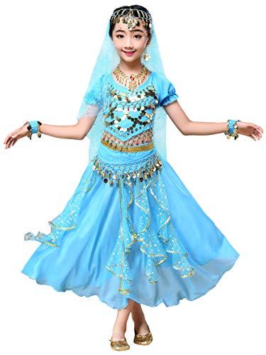FStory&Winyee Mädchen Kostüm Bauchtanz Pailletten Indien Ägypten Dance Kinder Tanzkostüme Prinzessin Cosplay Kleid Blau Rot Rosa Karneval Verkleidung Party Faschingkostüme ab 3 Jahre 90-170cm (Indien Prinzessin Kostüm)