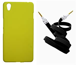 Toppings Hard Case Cover With Aux Cable For OnePlus X - Yellow