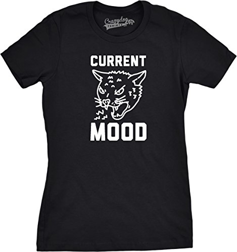 mens Current Mood Angry Cat Tshirt Funny Meowing Tiger Kitten Tee (Black) S - Damen - S (Beängstigend Zähne)