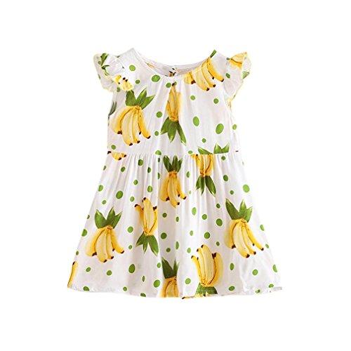 Mädchen Hülsen Kleid, TPulling Mode Frühling Sommer Mädchen Kleinkind Blumendruck Ärmelloses Banane Druck Fliegen Hülsen-Kleid Prinzessin Party Blumendruck Tutu Kleid (Gelb, 7T=140)