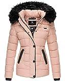Marikoo Damen Jacke Winter Stepp Jacke Parka Trend Jacke Kunst-Fell Kragen Warm UNQ101 (L, Rosa)