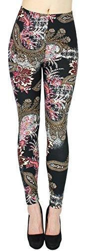 dy_mode Blumen Muster Leggings Damen Treggings Jeggings Flower Print Leggins One Size Gr. 36-42 - JL012 (One Size 36-42, JL211-Phoenix) Phoenix Flower
