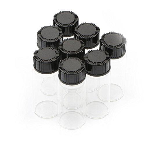Brubaker–Juego de botellas de cristal (con tapón de rosca de plástico negro viales de vidrio transparente 10ml