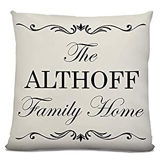 'The Althoff Family Home', Personalised Surname, Faux Suede Cushion, Vintage Style Design, Size 18in