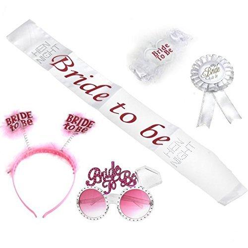 Veewon Braut zu sein Schärpe Brille Abzeichen Strumpfband Stirnband Henne Partei Set Kit für Henne Nacht Mädchen Nacht aus Party Hochzeit Dekorationen