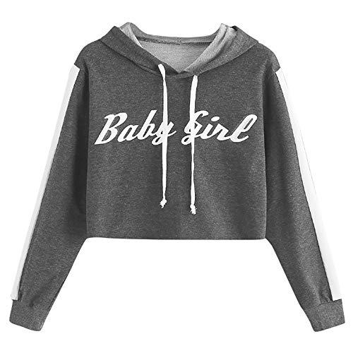 TWBB Damen Hoodie,Herbst Winter Brief Gedruckt Mantel Kapuzenpullover Slim-Fit Kurz Pullover Sweatshirt Outwear
