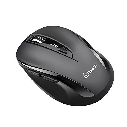 Emarth silenzioso Wireless 2.4G mouse ottico, riduzione del rumore silenzioso Click Mouse con nano ricevitore USB, 5tasti 1600dpi Design ergonomico, per PC/Computer/Laptop,