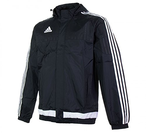 adidas Mens Rain Jacket Tiro 15 Windbreaker Hooded Jacket Black/White New M64000 (XL) (Full Nylon Windbreaker Zip)