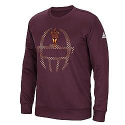 NCAA Arizona State Sun Devils Mens Sideline Helmet Dot Climawarm Team Issue Crew Sweatshirt, Maroon, X-Large