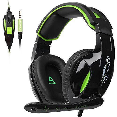 ZENWEN Computer Spiele Esports Kopfhörer Kopfhörer 3,5 mm Schnur Bass Stereo-Mikrofon für PS4 Xbox One PC (Bl live Gaming-Kopfhörer, ACK-Green) (Xbox Schnüre)