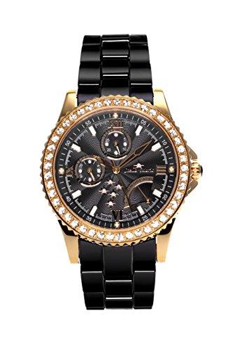 Stella Maris STM15N6 -Women's Watch - Black Watch Dial - Analog Quartz - Black Ceramic Bracelet - Diamonds - Swarovski Elements - Stylish - Classy