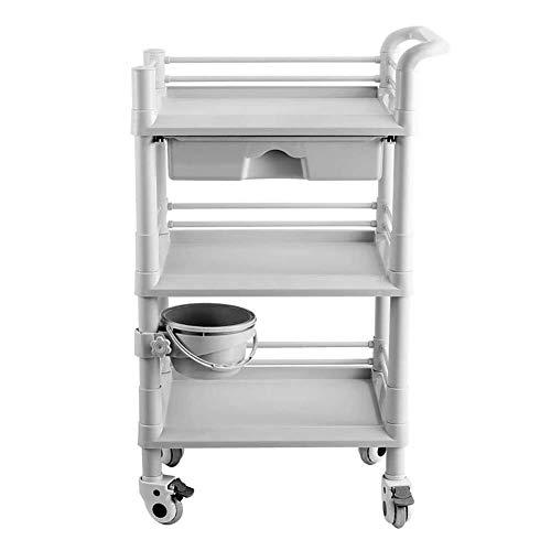 BLWX LY 3-Tier Utility Cart Servizio Carrello con cassetto, Attrezzatura Attrezzi Spesa for Medico/Salone di Bellezza/Albergo, apparecchiatura di Bellezza cremagliera
