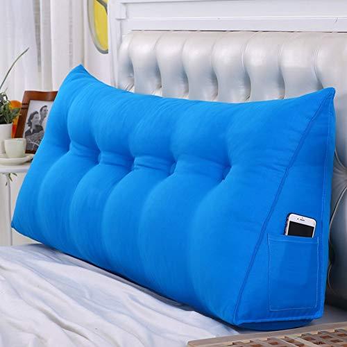 Tatami-Kopfteilkissen, dreieckiges Rückenlehnenkissen mit Keilablesung, große, waschbare Rückenkissen am Bett, dreidimensionale Sofarückenlehne (Color : Blue, Size : 200 * 20 * 50cm) (Groß Nachttische Schlafzimmer-set Von 2)