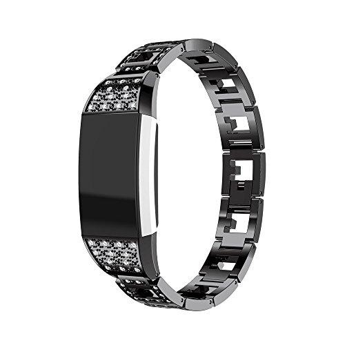 Preisvergleich Produktbild Fitbit Charge 2 Armband, iHee 2017 Neue Mode Vertraglicher Design Stil Edelstahl Uhren Armband Armband für Fitbit charge 2 (Schwarz)