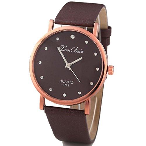 UNNSEAN Uhr,Mode Frauen Diamant Leatheroid Band Runde Zifferblatt Quarz-Armbanduhr Elegant Damen Runde Schwarz Uhr Mode Klassisch Dünn Armbanduhr (Kaffee)