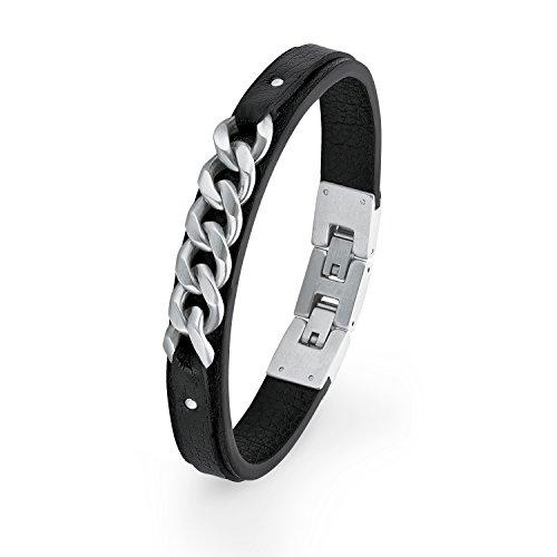 S.Oliver Herren Armband Leder Edelstahl Ketten mattiert 20+1,5cm schwarz