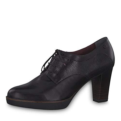 Tamaris Damen Pumps 23309-23, Frauen Schnürpumps, schnürung frontschnürung bequem Office-Schuh Business-Schuh Fashion,Black/Snake,41 EU / 7.5 UK