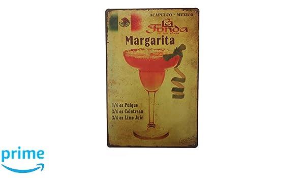 Style vintage rétro plaque métal margarita cocktail ventes//publicité signe