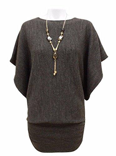 Womens Plus Size maglia rimovibile Collana Maglione Batwing Top grigio Medium