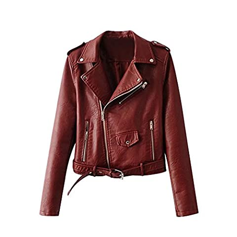 Women Motorcycle Faux Leather Jacket Yellow Black Lady Biker Coat with Belt Outerwear (Tag S/UK 8, Dark Red)