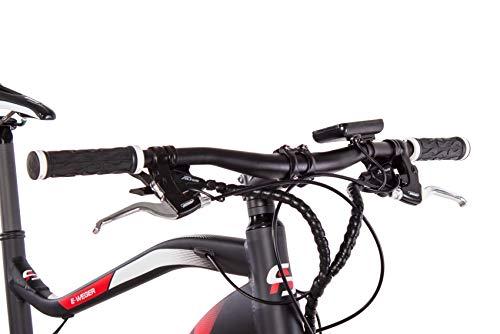 CHRISSON 27,5 Zoll E-Bike Mountainbike - E-Weger schwarz rot - Elektro Fahrrad für Herren und Damen - 27 Gang Shimano Altus Kettenschaltung - Pedelec mit Bafang Hinterradmotor 250W, 45Nm