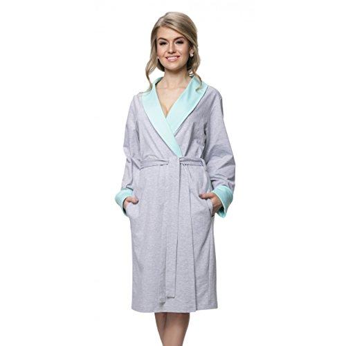 Aquarti Damen Morgenmantel Baumwolle Kimono Melange / Mint -raihana.eu