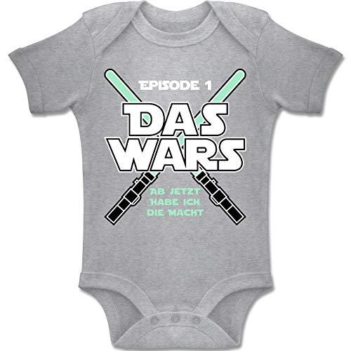 Shirtracer Zur Geburt - Das Wars Jetzt Habe ich die Macht Junge - 1/3 Monate - Grau meliert - BZ10 - Baby Body Kurzarm für Jungen und Mädchen