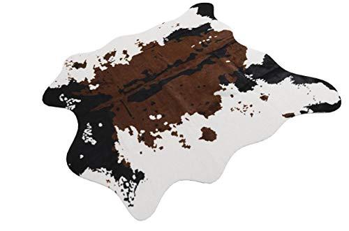 RCMeet Kuhfell-Teppich Rutschfester Kunstfell Teppich, 140 x 160 cm Faux Rindsleder Drucken Mat für Wohnzimmer Schlafzimmer Büro Stuhl Sofa (Kuh-Brown, 140x160cm)