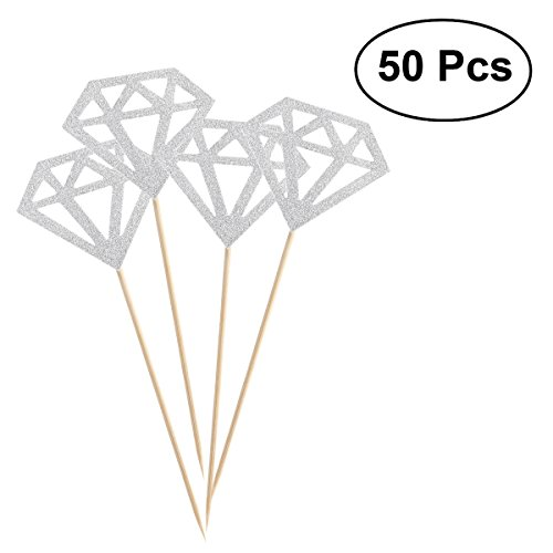 ROSENICE Kuchen Toppers Glitter Diamant Kuchendeckel Cake Toppers für Geburtstag Zeremonie Party Dekoration 50pcs (Silber)