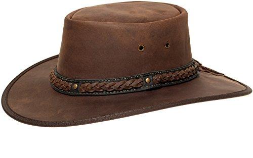 Barmah 1022 Squashy Bronco Cooper Crossing Lederhut aus Australien + Kinnriemchen | Braun / Brown | Size L (Style Outback-hut Aussie)