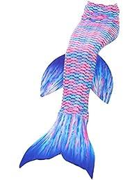 2XDEALS Disfraz De Sirena para Niña y Mujer Traje De Sirena Niña Cola De Sirena para Nadar Mujer Adulta, 3-4 años, Pinky Azul