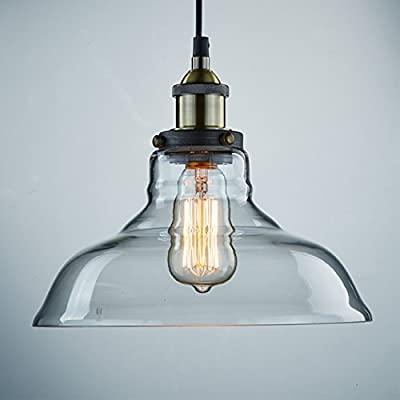 CLAXY Vintage Industrial Clear Glass Ceiling Lamp Shade Pendant Light from CLAXY