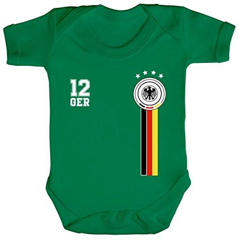 ShirtStreet Fußball WM Fanfest Germany Gruppen Wappen Strampler Bio Baumwoll Baby Body kurzarm Jungen Mädchen 12. Mann Deutschland Trikot, Größe: 3-6 Monate,Kelly Green (Männer Monat 3)