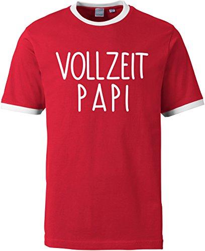 EZYshirt® Vollzeit Papi Herren Rundhals Ringer T-Shirt