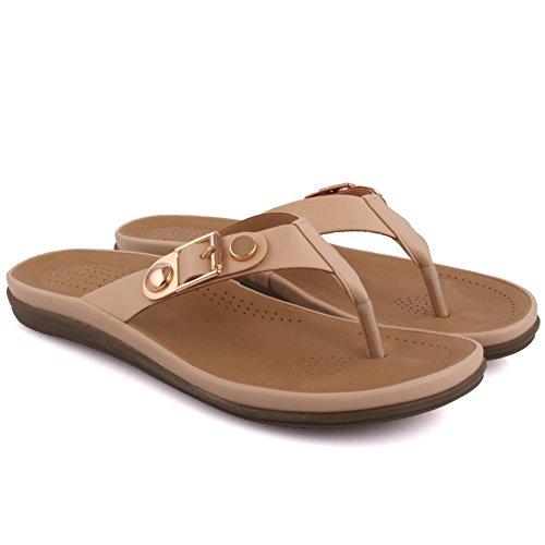 Unze New Women 'Paul' Toe Post Summer Beach School Carnaval Casual Chaussons Chaussures Taille UK 3-8 Beige