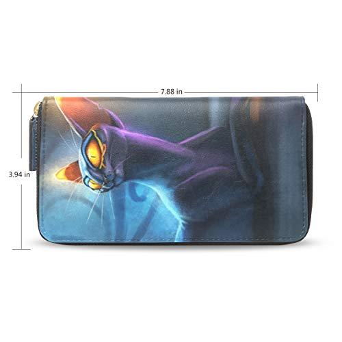 LENNEL Pu-leder Lange Brieftasche Kartenhalter Handtasche Geldbörse für Frauen Männer Kartensteckplätze Zwei Bäume Katzen Magical Night Tail (Tail-mix-katze)