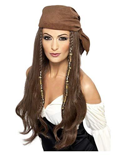 Horror-Shop Piraten Lady Langhaar Perücke mit Kopftuch