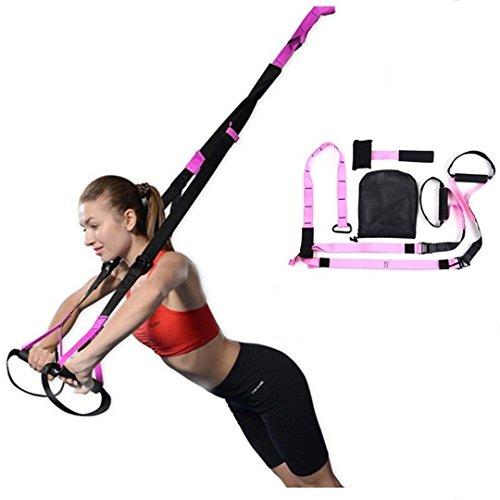 Femor Fitness Sling Schlingentrainer Türanker Profi-Handgriffe Suspensiontrainer belastbar bis 200kg Rosa inklusive Aufbewahrungsbeutel (Rosa)