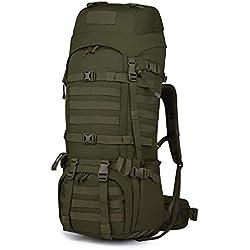 Mardingtop Sac à Dos Militaire 65/65 + 10L Sac à Dos Tactique avec Habillage Pluie pour Trekking/randonnée/Camping/Voyages Sac à Dos